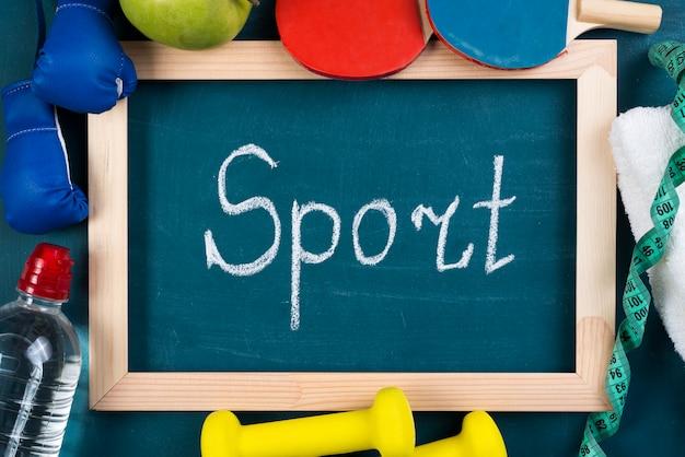 Composição de esporte colorido com elementos de ginástica
