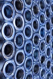 Composição de ferro nozes close-up