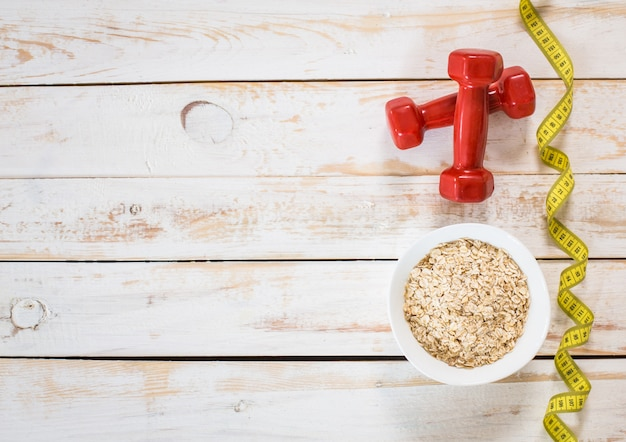 Composição de fitness com café da manhã energético