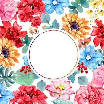 Composição de flores com moldura de círculo