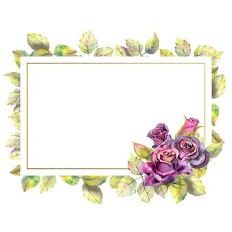 Composição de flores de rosas escuras folhas verdes em uma moldura dourada geométrica moldura retangular em aquarela