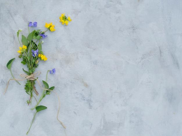 Composição de flores do verão em um fundo cinza.