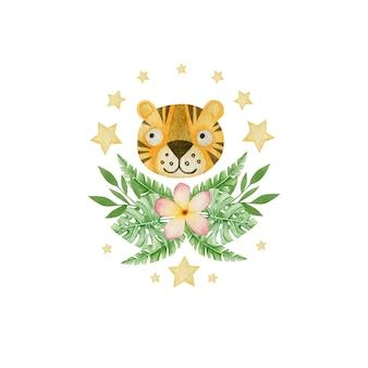 Composição de flores e folhas tropicais de tigre em aquarela