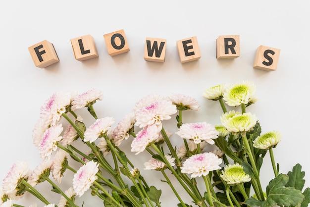 Composição de flores e sinal de massa