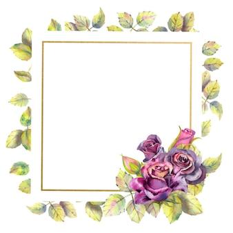 Composição de flores em aquarela de folhas verdes rosas escuras em moldura dourada geométrica