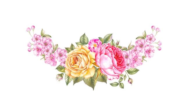 Composição de flores guirlanda de flores.