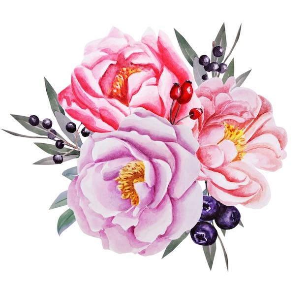 Composição de flores. ilustração em aquarela