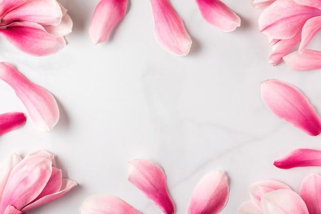 Composição de flores. moldura feita de flores de magnólia rosa. postura plana. conceito de primavera