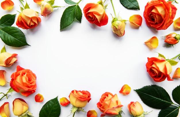 Composição de flores. moldura feita de rosas vermelhas e folhas em fundo branco. vista superior, configuração plana, espaço de cópia