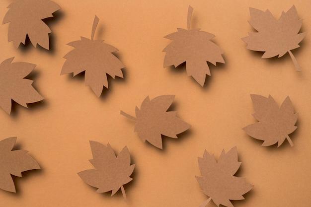 Composição de folhas de outono de vista superior