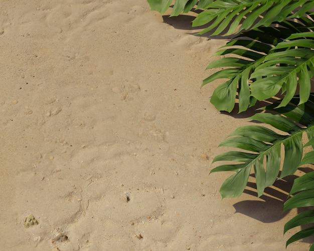 Composição de folhas de palmeira verde 3d