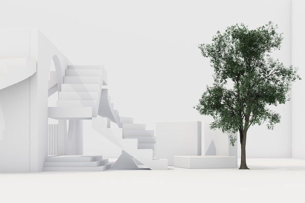 Composição de forma geométrica com escada e arco em renderização em 3d branca
