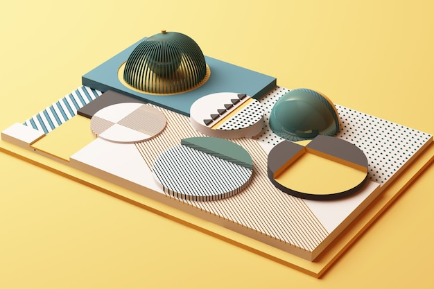 Composição de formas geométricas em tons pastéis de amarelo e verde. ilustração de renderização 3d