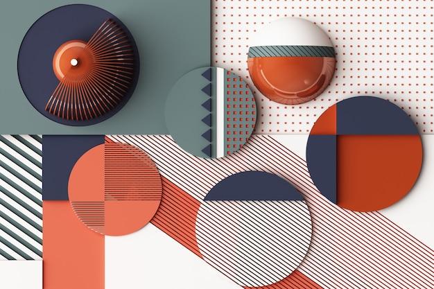 Composição de formas geométricas em tons pastel de laranja e azul. ilustração de renderização 3d