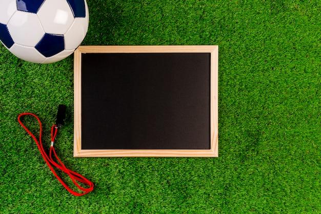 Composição de futebol com ardósia