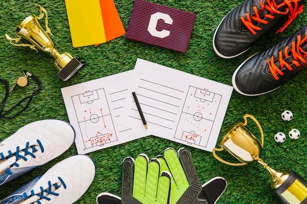 Composição de futebol com elementos diferentes