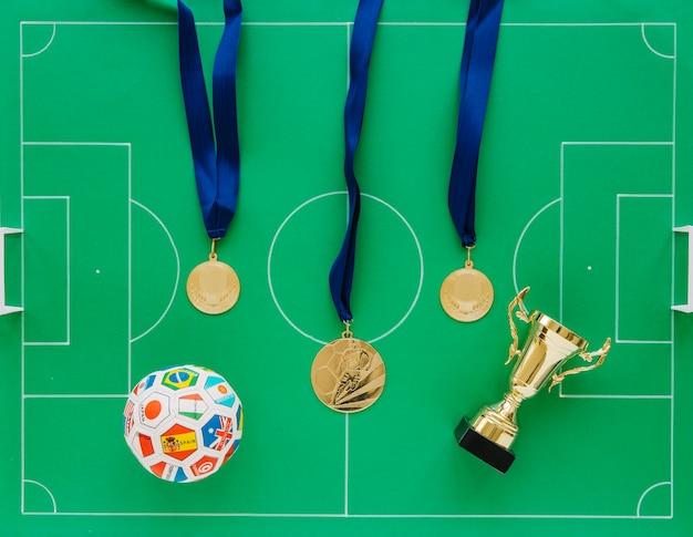 Composição de futebol com medalhas