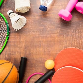 Composição de ginásio moderno com elementos do esporte