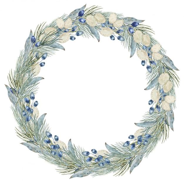 Composição de grinalda de feliz natal inverno redondo quadro