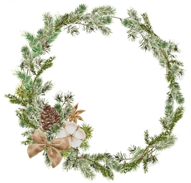 Composição de grinalda feliz natal com ramos de pinheiro e abeto, algodão, flor de anis, arco e cone. quadro redondo de inverno