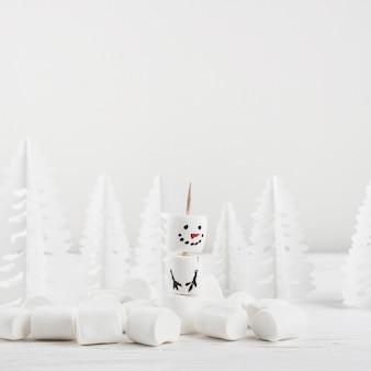 Composição de inverno do showman de marshmallow