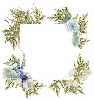 Composição de inverno e primavera moldura quadrada com ramos de pinheiro e abeto, flores azuis.