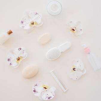 Composição de itens de banho para o corpo saudável