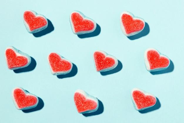 Composição de lindos corações em azul
