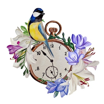 Composição de lírios e frésias, relógio de pássaro azul vintage, ilustração em aquarela