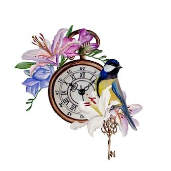 Composição de lírios e frésias, relógio vintage azul pássaro, teclas vintage, ilustração em aquarela