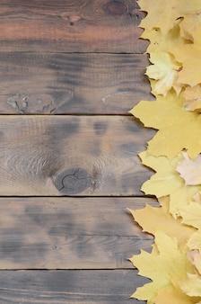 Composição de muitas folhas de outono caídas amareladas em uma superfície de fundo