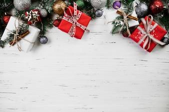 Composição de Natal de caixas de presente
