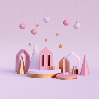 Composição de natal minimalista e moderna, renderização em 3d
