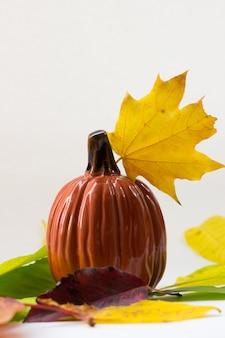 Composição de outono abóbora e folhagem de outono em branco