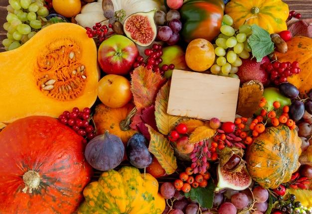 Composição de outono, ação de graças ou conceito de halloween, abóboras alimentares, colheita, espaço plano, cópia