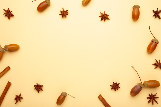 Composição de outono. bolota, pinha, estrela de anis. camada plana, vista superior, espaço de cópia