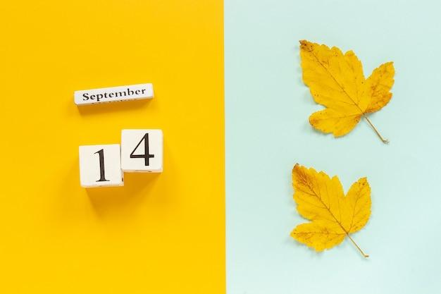 Composição de outono. calendário de madeira 14 de setembro e folhas de outono amarelas sobre fundo azul amarelo. vista superior flat lay mockup concept olá, setembro.