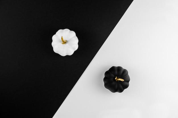 Composição de outono com abóboras brancas e pretas