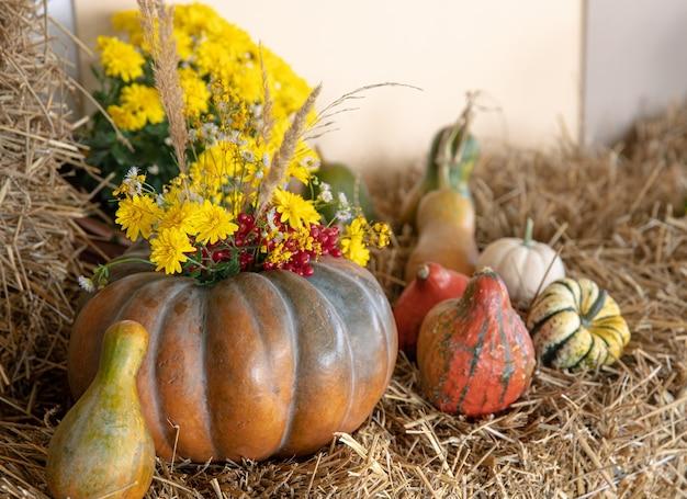 Composição de outono com abóboras em estilo rústico