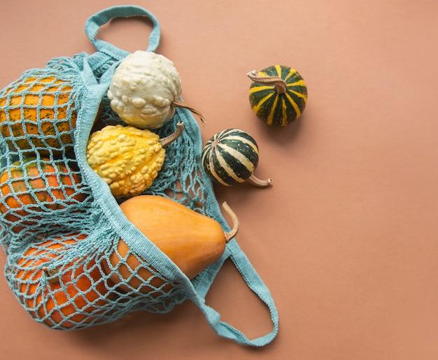 Composição de outono com abóboras sortidas em saco de cordas eco, plano de ação de graças.