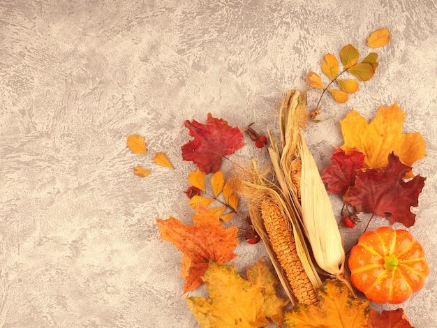 Composição de outono com espaço para texto, cartão postal para outono e colheita