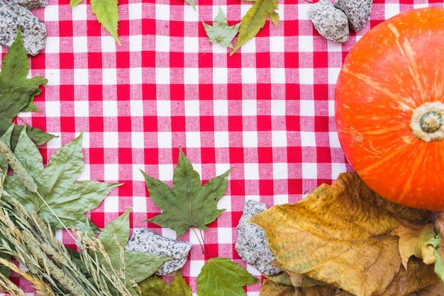 Composição de outono com folhas secas na toalha de mesa quadriculada
