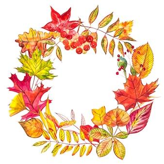 Composição de outono. coroa de flores feita de outono bagas e folhas. ilustrações em aquarela.