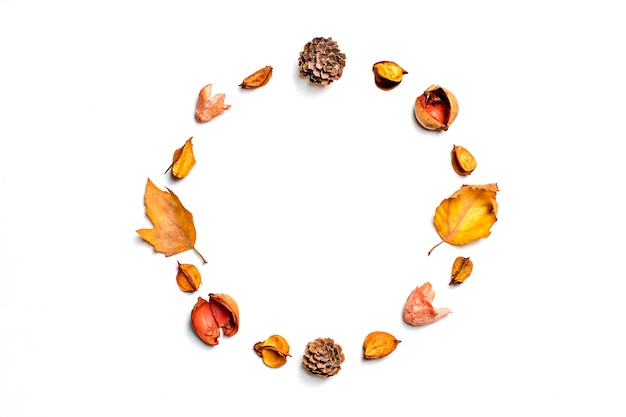Composição de outono de folhas secas, bagas, flor