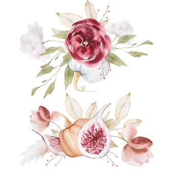 Composição de outono floral e abóbora aquarela
