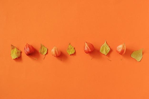 Composição de outono. folhas de outono brilhante herbário em papel laranja