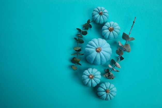 Composição de outono plana de vista superior. quadro feito de abóboras de cor aqua e folhas secas no fundo água. colher cartões de aniversário do dia das bruxas para o dia de ação de graças