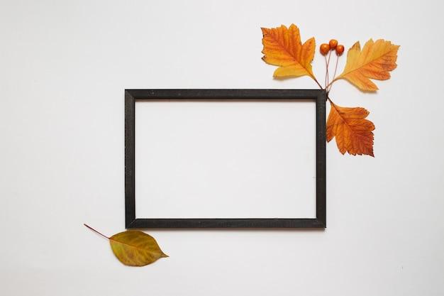 Composição de outono, plana leigos. moldura de madeira com folhas de outono frescas no fundo branco