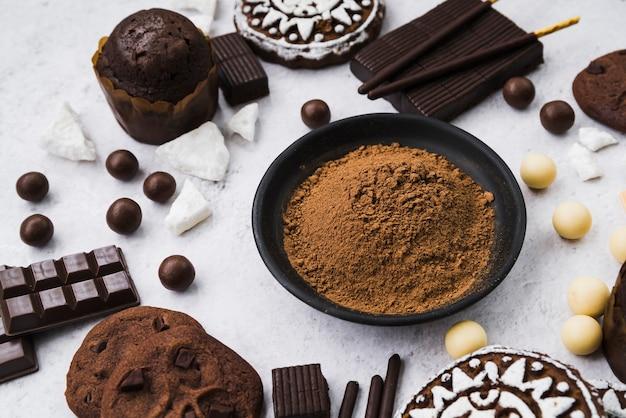 Composição de produtos de chocolate com cacau em pó