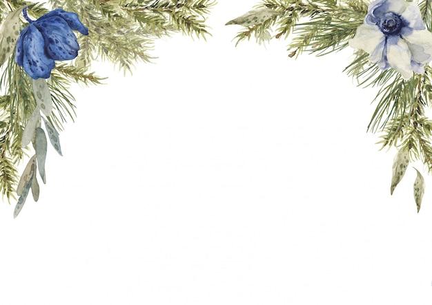 Composição de quadro quadrado primavera com ramos de pinheiro e abeto, flores azuis.
